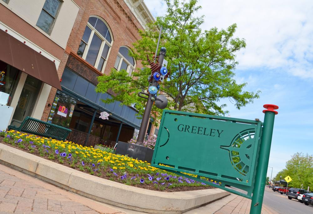 Signage for Greeley in downtown Greeley, CO