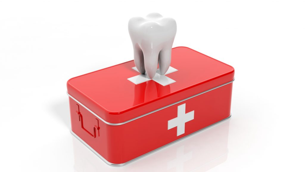 illustration of a tooth on top of a red medical kit